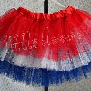This 4th of July tiered tutu is so cute with its bright red, crisp white & deep blue layers of tulle. Your little girl will be twirling & dancing in delight! Perfect for all the patriotic holidays: 4th of July, Memorial Day or Veteran's Day.