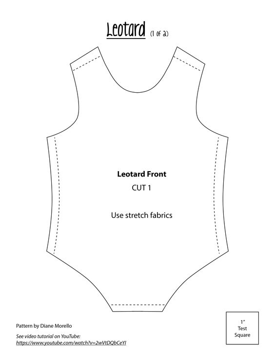 Leotard Front. Use 4 way stretch fabric for best fit.