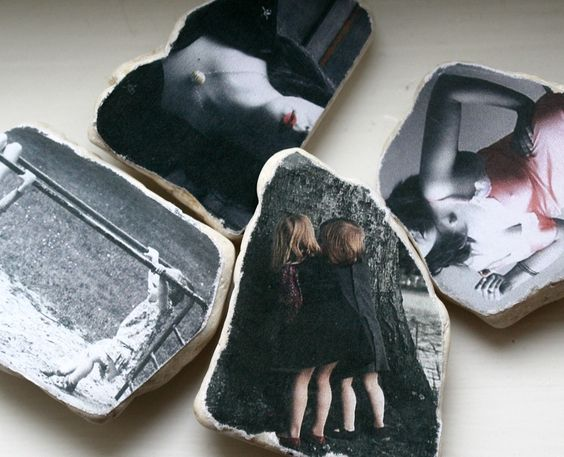 Your Personal Photograph Custom Altered for Vintage Effect and Mounted on Stone. €15.00, via Etsy.