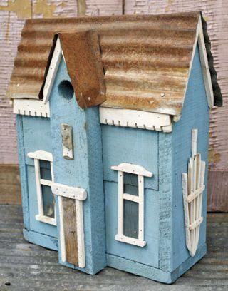 Primitive Unique Cottage style Birdhouse 2 holes Pattern//Plan WN166
