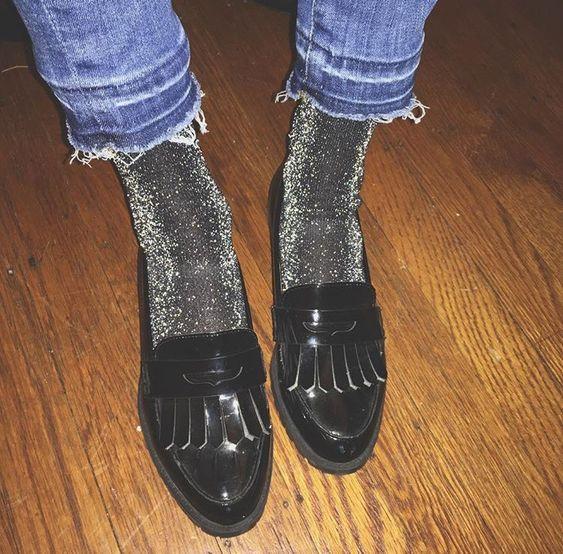 Mocassins | chaussettes à paillettes | Style: