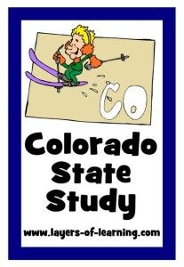 Colorado state study for kids with a printable map.