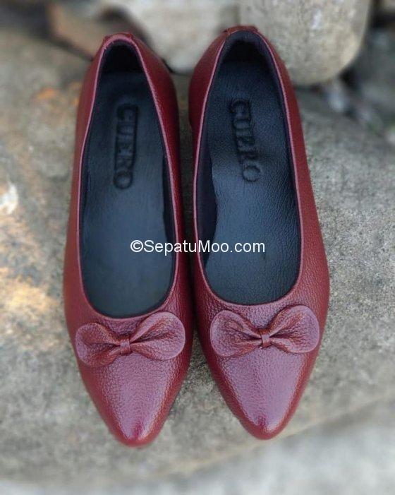 Sepatu Kerja Cewek Kulit Asli Model Flat Essie Sepatu Ceper