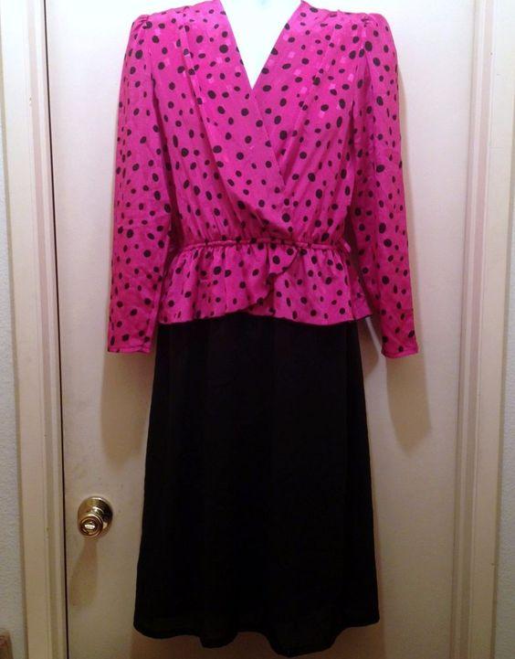 Hot Pink Black Polka Dot Jamain Australia Size 14 Evening Cocktail Formal Dress #Jamain #Cocktail