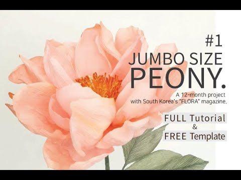 Free Pdf Template Full Tutorial 1 Jumbo Size Peony Youtube Free Paper Flower Templates Crepe Paper Flowers Diy Paper Flower Template