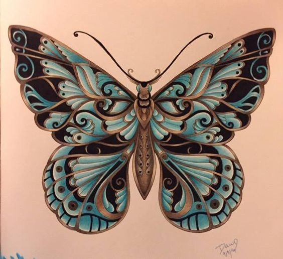 Magical Jungle by Johanna Basford.. Butterfly colored by ...