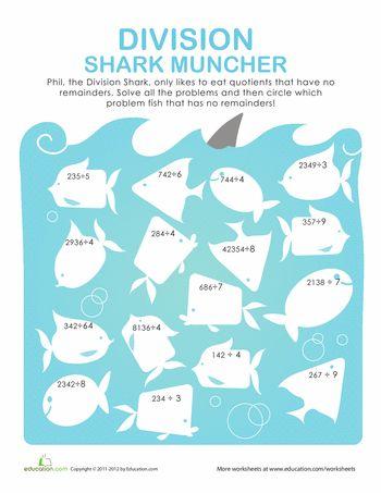 math worksheet : division more shark munching  division worksheets and  : Fun Division Worksheets 4th Grade