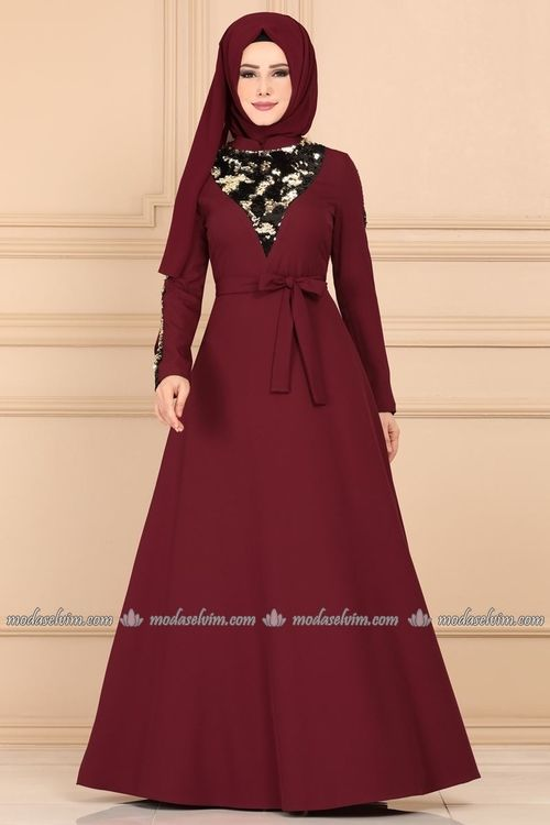 Modaselvim Elbise Pul Payet Detayli Tesettur Elbise 2217ms212 Bordo Dresses Long Sleeve Dress Fashion
