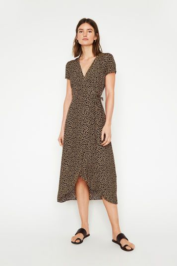 Warehouse Animal Print Wrap Dress Tan 1 Womens Wrap Dress Dresses Printed Wrap Dresses