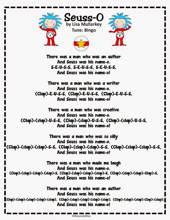 dr seuss songs preschool dr seuss song to the tune of bingo for the month 599