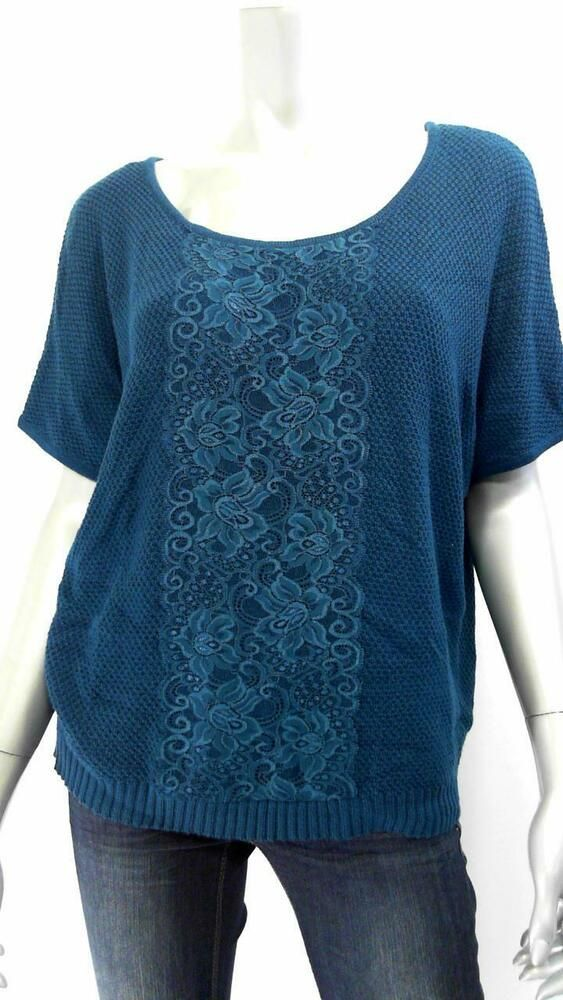 Ebay Ad Agb Misses Womens Lace Pullover Sweater Sz S Teal Knit Auth Designer Us 043474j Pullover Sweaters Sweaters Pullover