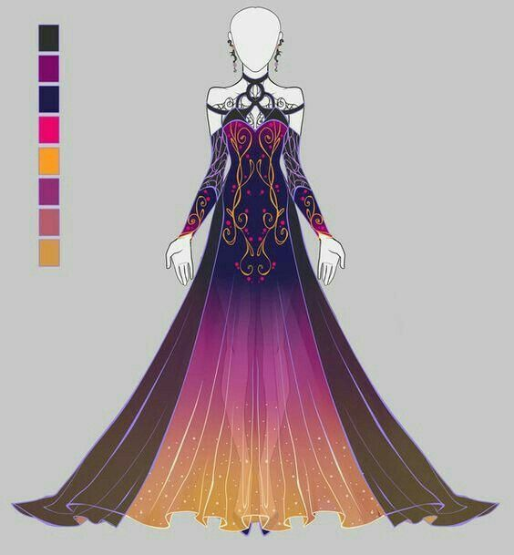 Stunning Color Palette But Not Modest Enough For Me Anime Dress Dress Drawing Art Clothes