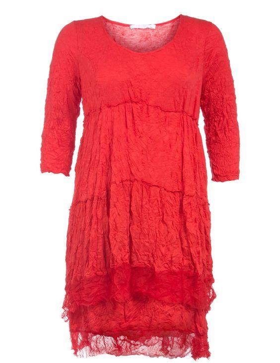 Lauren Vidal Geknittertes A-Linien-Kleid in Rot