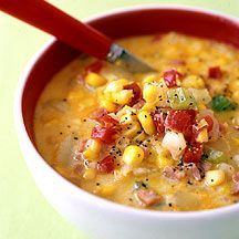 Summer Corn, Potato, Bacon Chowder by weightwatchers: Microwave and mash Yukon Gold potatoes and combine with celery, onion, corn, sweet red peper, Canadian bacon and skim milk. #Soup #Corn_Chowder #weightwatchers