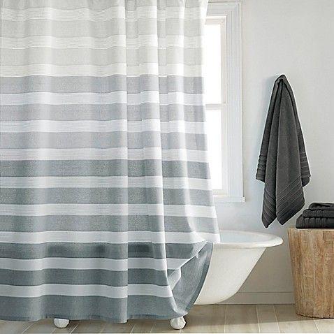 Dkny Highline Stripe Shower Curtain Long Shower Curtains Gray