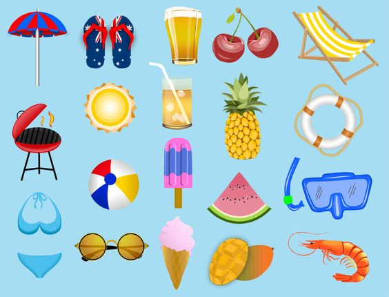 19 Original Australian Summer Vector Clip Art Icons by reeloui on Etsy