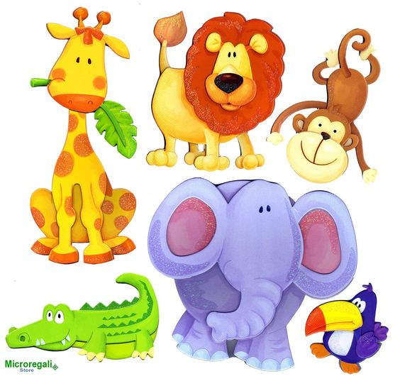 Adesivi murali 3d animali della savana cm 30 5 x 30 5 per for Adesivi murali x bambini