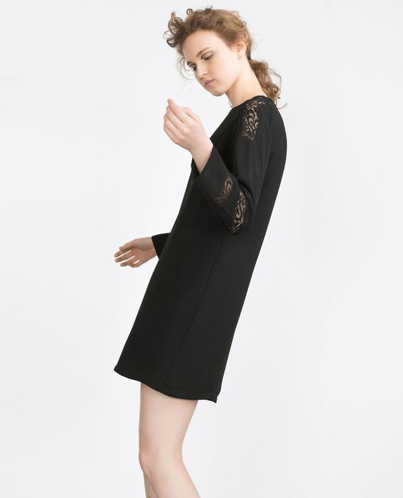 STRAIGHT CUT CONTRAST LACE DRESS