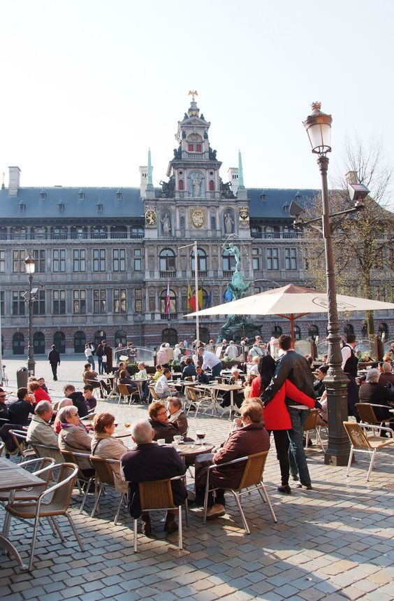 Terrace in front of City Hall on Grand Place, Antwerp by
