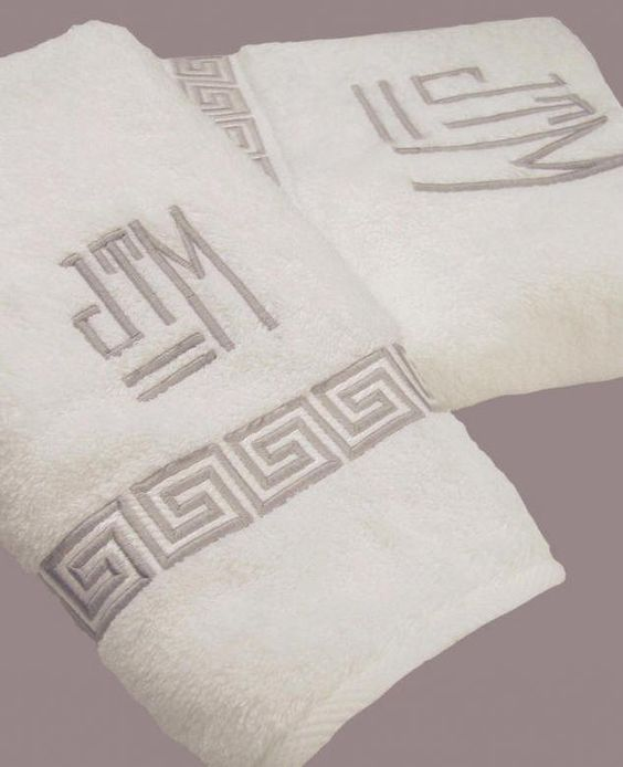 Greek Key Embroidered Bath Towels With Custom Monogram