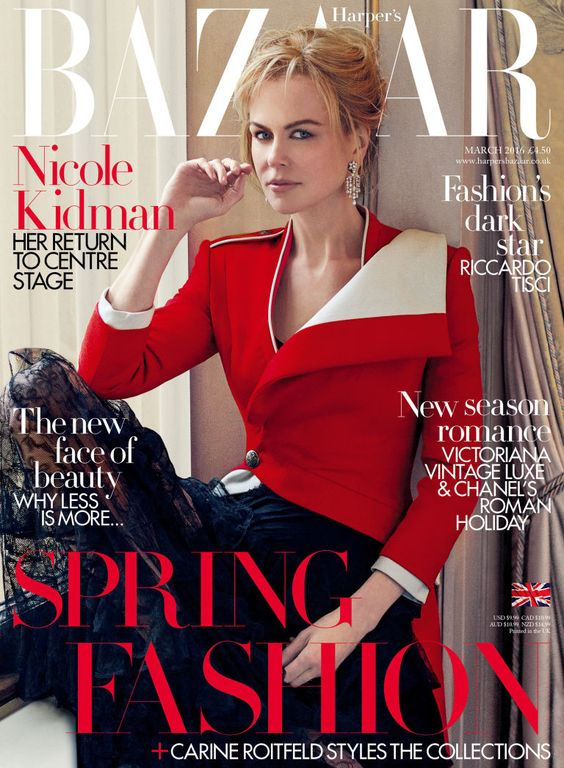 awesome Nicole Kidman looks absolutely radiant for Harper's Bazaar UK March 2016 covers by Norman Jean Roy  [cover]: