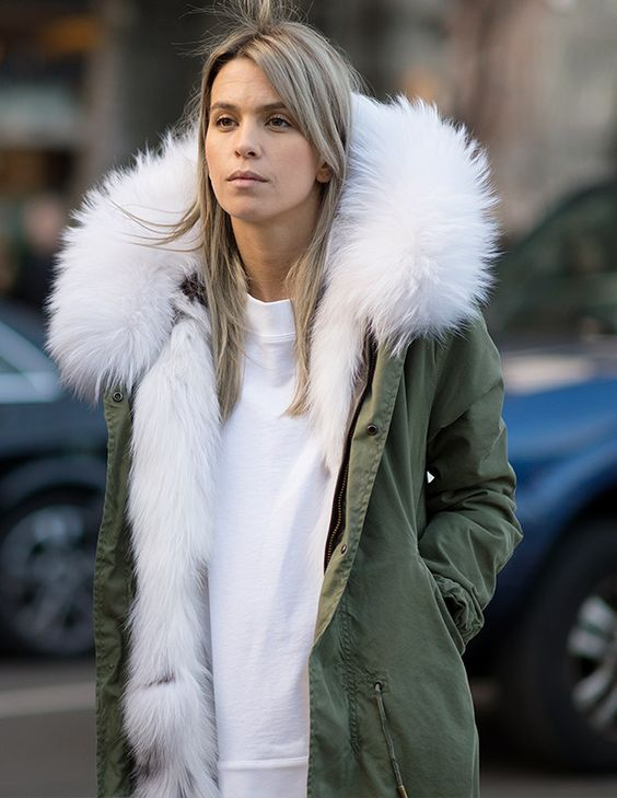 Amazing parka lined in toasty white fur: