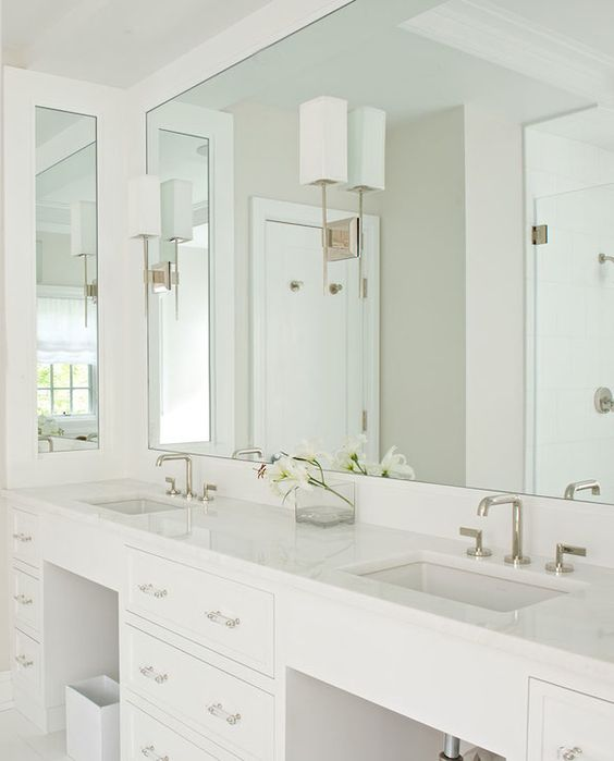 Long vanity home sweet home pinterest transitional for Long bathroom cabinets