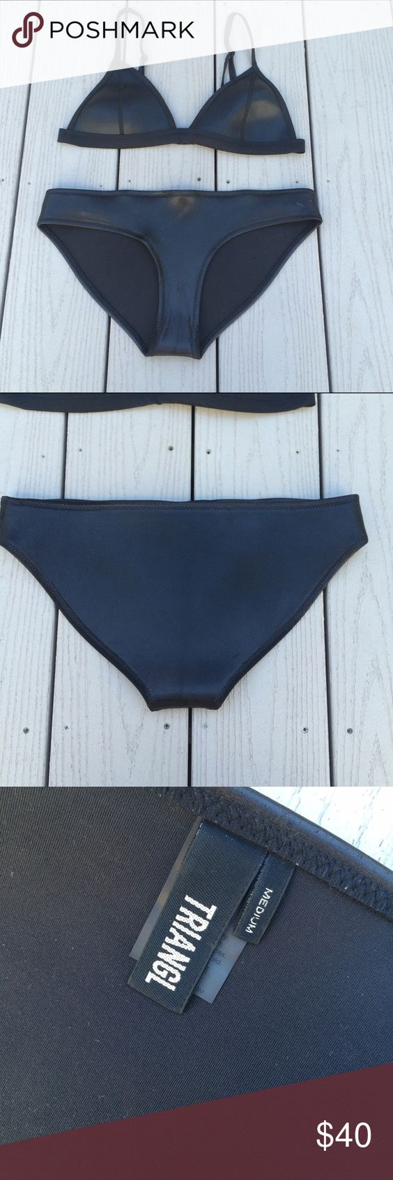 Black 'leather' Triangl Bottoms BOTTOMS ONLY. SIZE M. NO TRADES triangl swimwear Swim Bikinis