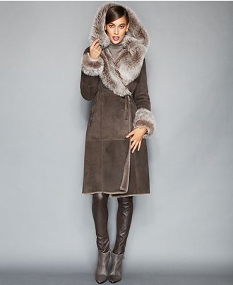 The Fur Vault Toscana Shearling Hooded Wrap Coat | Fur Hoods and Chic