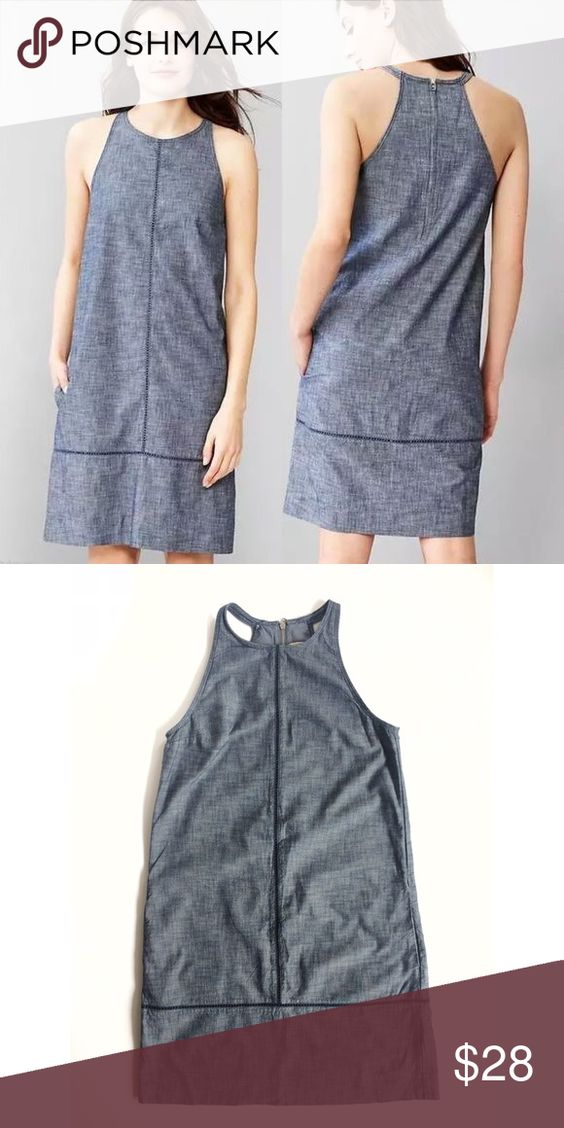 """Gap chambray shift dress w/racer back GAP Chambray Shift Dress Premium chambray Sleeveless  High round neckline Eyelet ladder stitching at center front and hem On-seam side pockets Back zip closure Lined Hits at the knees 100% cotton  Size 2 but runs big so it may fit up to a size 4 depending on how you want it to fit  Bust 17"""" Length 18"""" GAP Dresses"""