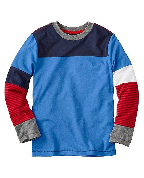 Our everyday-rugged and supersoft sueded jersey tees get a little more awesome with a colorblocked mix up on the sleeves...we love the layered look.  <br> •100% supersoft cotton sueded jersey<br> •Colorblocked<br> •Sturdy ribbed neckband<br> •Pieced sleeves<br> •Certified by OEKO-TEX® Standard 100 | 03.U.9375 - FI Hohenstein<br> •Prewashed<br> •Imported