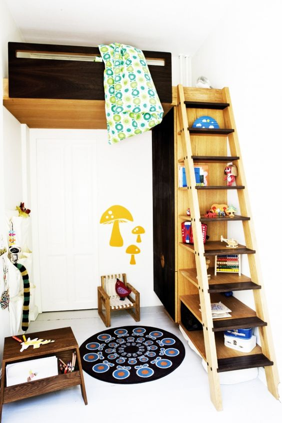 the bed is lofted WAY up, and the stairway is storage, as is the bed's support.  Compact Furniture For a Small Sized Kids Room   DesignRulz.com