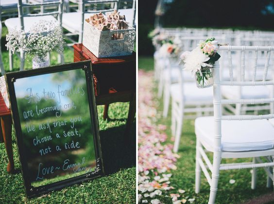 Wedding mirror sign - as two families are becoming one, we ask that you choose a seat, not a side | A Dreamy Pastel Wedding in Perth: Sam and Emma