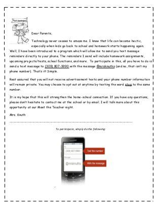 remind 101 parent letter now that our new websites wont be ready until