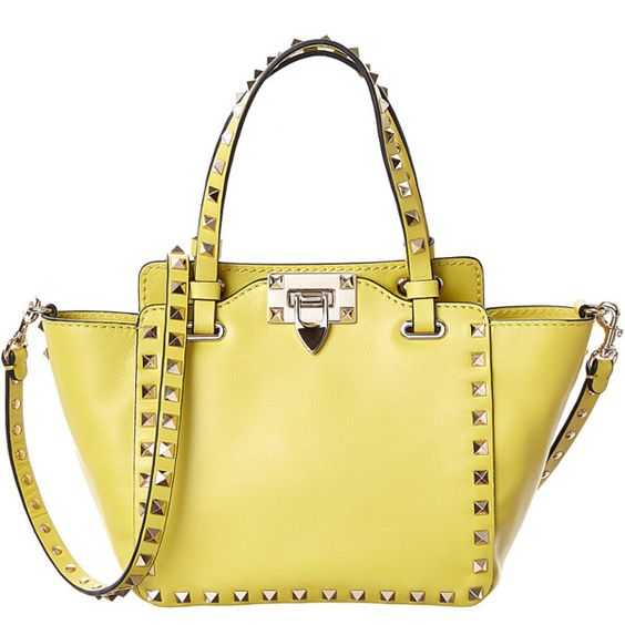 Valentino Valentino Rockstud Mini Leather Tote (394919701) (75,800 PHP) ❤ liked on Polyvore featuring bags, handbags, tote bags, yellow, leather handbag tote, leather hand bags, tote handbags, hand bags and yellow leather tote