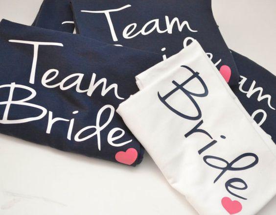 Bride and Team Bride Wedding party Tshirts by AnchorAvenueDesigns, $14.00