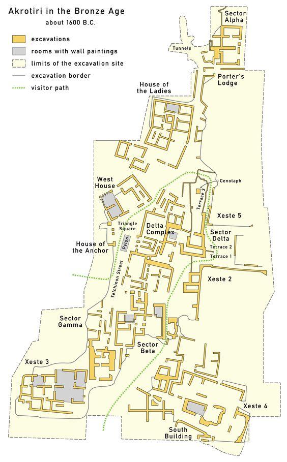 Map Of Bronze Age Akrotiri Akrotiri Santorini Santorini