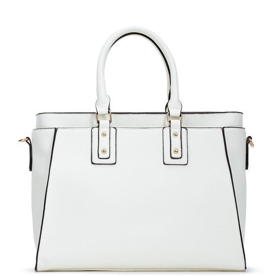 ShoeDazzle Bags Brad Womens White ❤ liked on Polyvore featuring bags, handbags, wallets & cases, white, structured purse, man bag, structured bag, white handbags and white hand bags