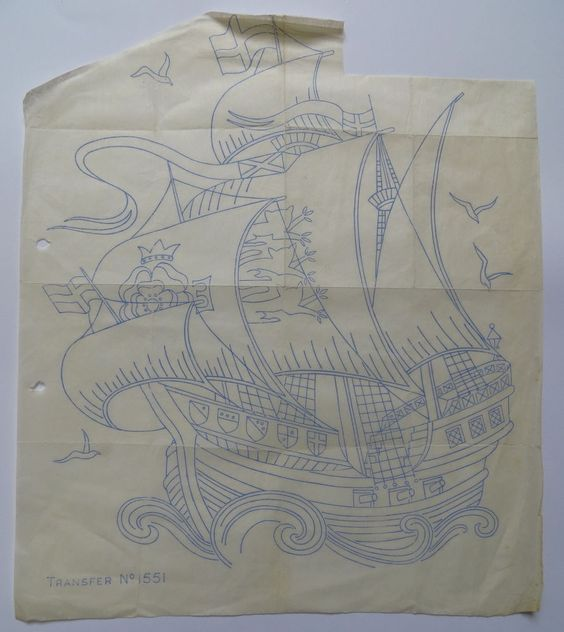 vintage nautical embroidery transfer - large sailing ship boat galleon