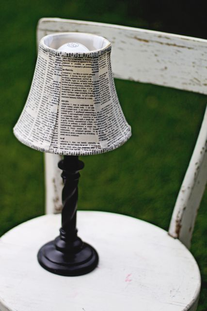 Decoupage lamp shade-- the lamps in our office need this; I think I'll try it with book or dictionary pages.