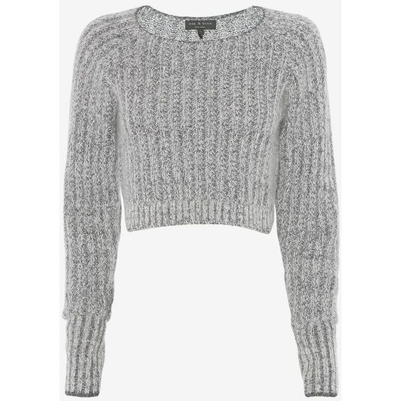rag & bone Makenna Crop Sweater (£195) ❤ liked on Polyvore featuring tops, sweaters, shirts, jumper, camisolas, grey, long sleeve crop top, crop top, crew-neck sweaters and cropped knit sweater