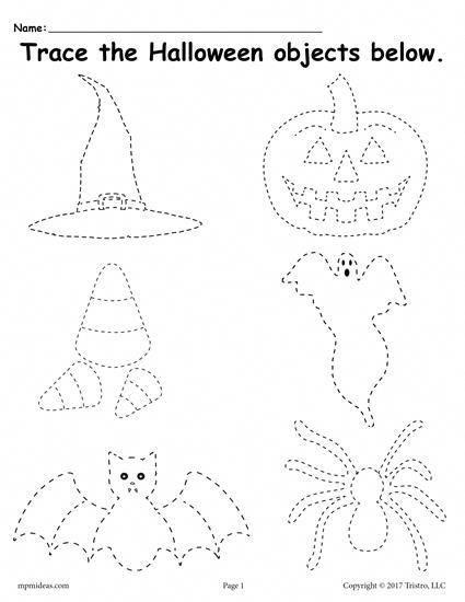 Printable Halloween Tracing Worksheet Halloween Preschool Halloween Worksheets Free Halloween Worksheets Preschool Free printable halloween worksheets pre
