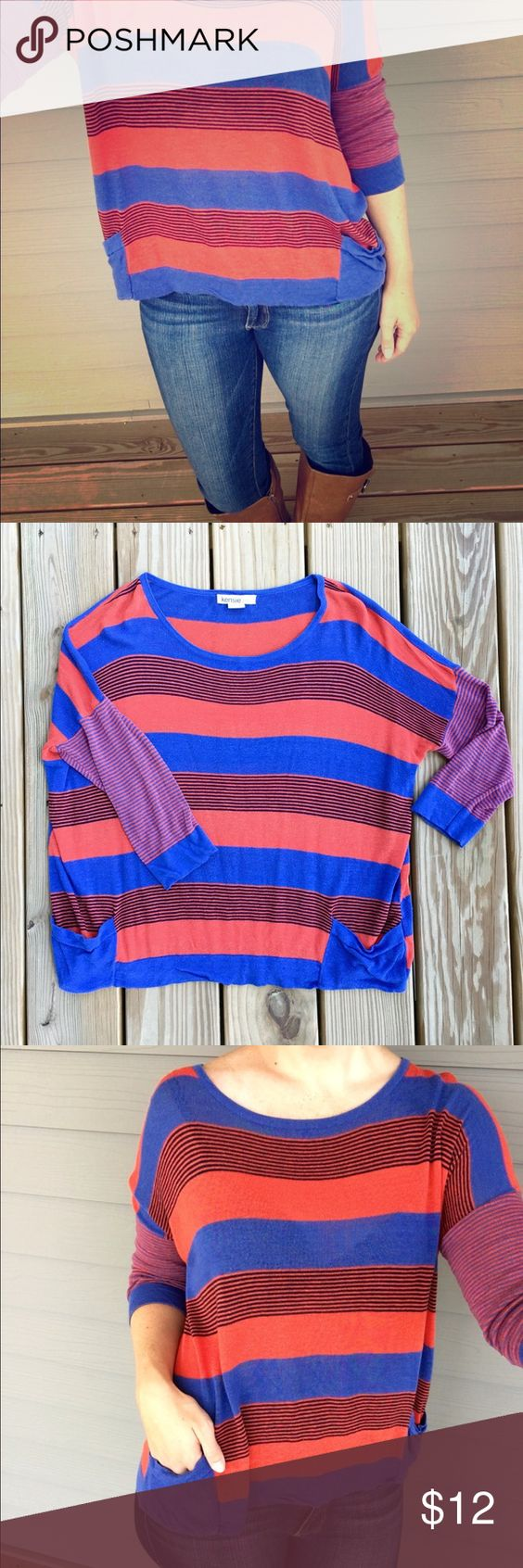 Orange & Blue sweater Super cute bright blue and orange striped slouchy sweater. Has large scoop neck, three quarter length sleeves, slight bat wing arms, and POCKETS! Great for fall!🍁💙🏈 Kensie Sweaters Crew & Scoop Necks