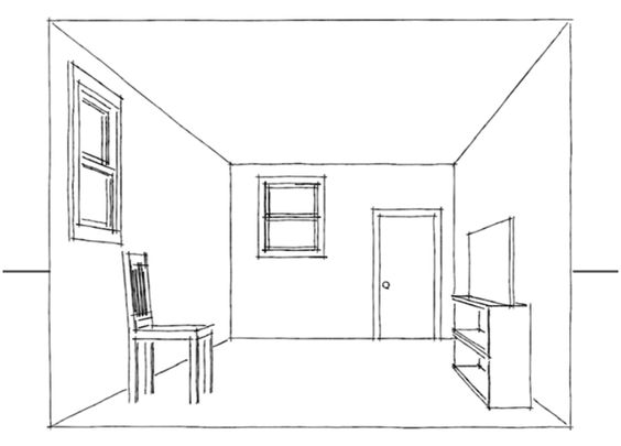 Drawing A One Point Perspective Room Tutorial Pinterest