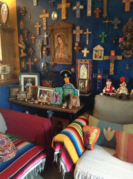 Holy amazing alter cross blue wall in living room for Mexican inspired living room ideas