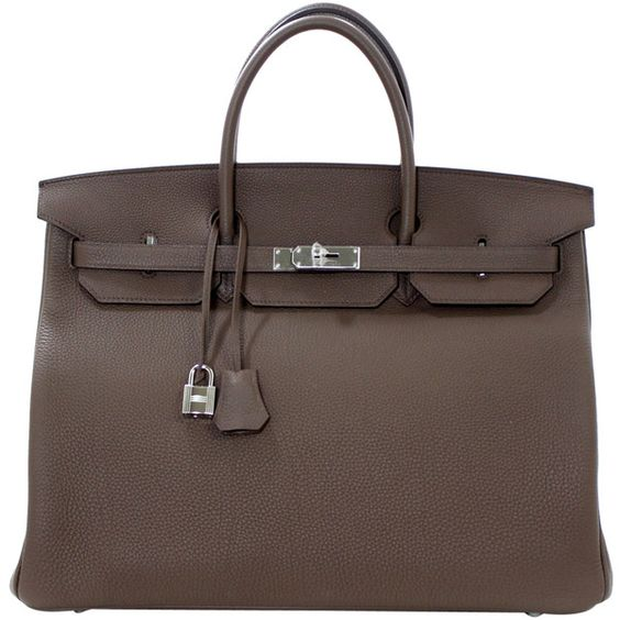 Pre-Owned Hermès Taupe 40 cm Togo Leather Birkin Bag (951,360 DOP) ❤ liked on Polyvore featuring bags, handbags, taupe, taupe handbag, brown leather handbags, hermes handbags, leather purse and genuine leather purse