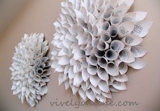 DIY wall art dahlias! Made w/ upcycled text book- great impact for larger wall.