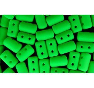 Czech Glass Two-Hole Seed Beads RULLA 3x5 mm NEON Matte Green