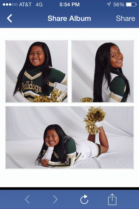 Indoor cheerleading photo poses