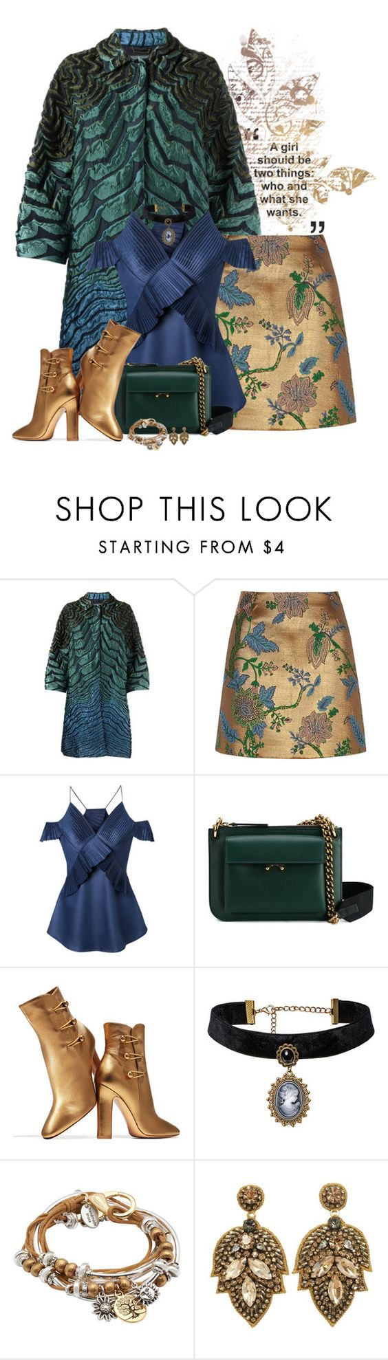"""Untitled #1172"" by montse-gallardo ❤ liked on Polyvore featuring Alberta Ferretti, River Island, Marni, Gianvito Rossi and Lizzy James"
